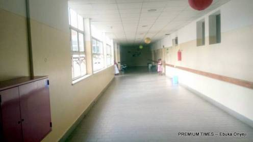Empty maternal care hallway at Asokoro district hospital as a result of the health workers strike