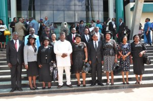 Governor Ifeanyi Ugwuanyi of Enugu State (4th left), with the Chief Judge of the state, Justice Priscilla Emehelu (3rd left); Chairperson, Enugu State Land Use Charge Assessment Appeal Tribunal, Barr. Chigozie Nnadi (middle); and other members of the Tribunal after their inauguration at the Government House, Enugu, yesterday.