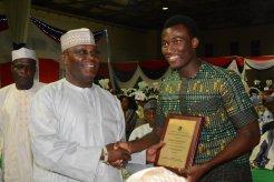 Former Vice President Atiku Abubakar congratulating Benedict. [Photos by AUN media]