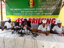 Peace Corps National Commandant, Dickson Akoh addressing a press conference after the House of Representatives rejected the bill.