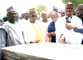 L-R. Borno state Deputy Governor Usman Mamman Durkwa, Borno State Governor, Kashim Shettima, Managing Director Aliko Dangote Foundation, Zouera Youssoufou, Trustee Aliko Dangote Foundation, Halima Dangote, Chairman and Founder Aliko Dangote Foundation, Aliko Dangote,