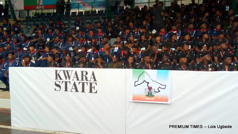 Officers of the NSCDC and Nigeria Police Force at the APC National Convention
