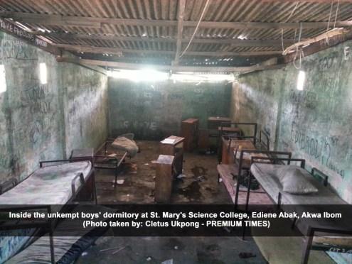 Inside the unkempt boys dormitory at St. Marys Science College Ediene Abak Akwa Ibom [Cletus Ukpong]
