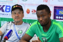 Mikel Obi and Gernot Rohr