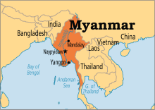Myanmar on map (Photo Credit: Operation World)