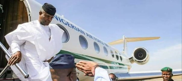 File photo of Vice President Yemi Osinbajo arriving at an airport
