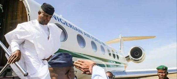 File photo of Vice President Yemi Osinbajo arriving at an airport