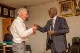 Hon. Minister of Power, Works & Housing, Mr Babatunde Fashola, SAN (right) handing over the keys of the Federal Government allocated House to former Assistant Technical Adviser of the Super Eagles, Bonfrere Jo(left) in fulfillment of Government's Pledge 24 years ago for Winning the 1994 African Cup of Nations at the Ministry of Power,Works & Housing Headquarters, Mabushi, Abuja on Tuesday 5th, June 2018.