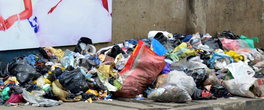 A Refuse dump used to illustrate the story at Kadiri Bus Stop off Bale Road, Orile Iganmu in Lagos on Monday (18/6/18).