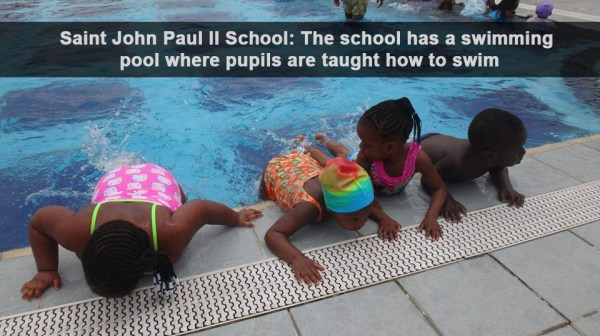 Saint John Paul II School: The school has a swimming pool where pupils are taught how to swim [Photo: Cletus Ukpong]