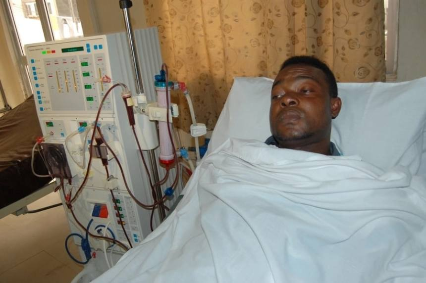 The late Moses Ochei aka Mozzyx on his hospital bed