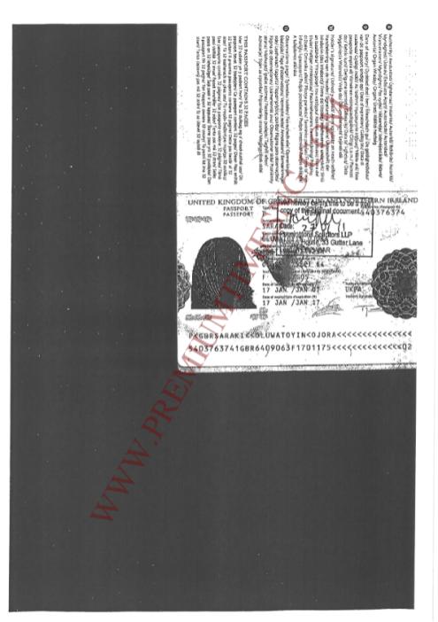 Mrs Toyin Saraki's Passport
