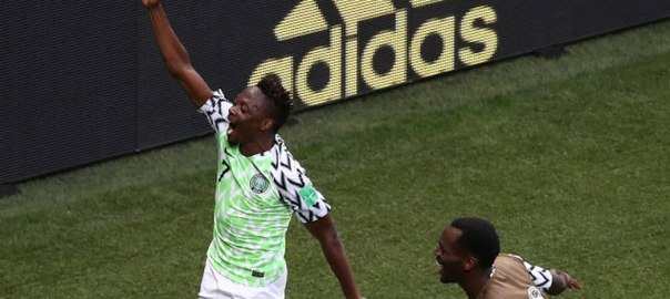 Ahmed Musa celebrates with team mates after scoring a world class goal for Nigeria against Icleand #Russia2018 #FIFAWorldCup