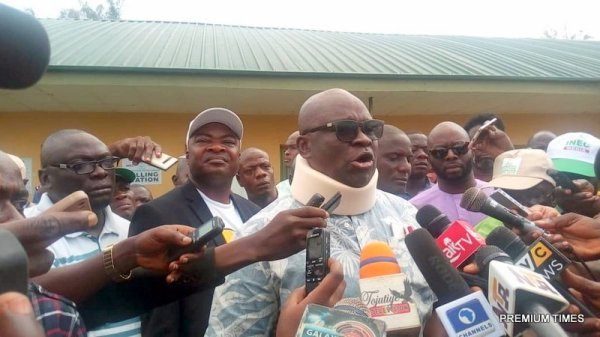 Fayose addressing the media