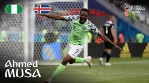 Ahmed Musa celebrates goal scored against Iceland