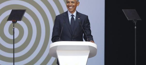 Former US President Barack Obama speaks during the 2018 Nelson Mandela Annual Lecture (Photo Credit: slate.com)