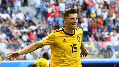 Thomas Meunier as he scored the opener for Belgium against England in the 3rd place match on Saturday, 14th July, 2018 [Photo: Reuters]