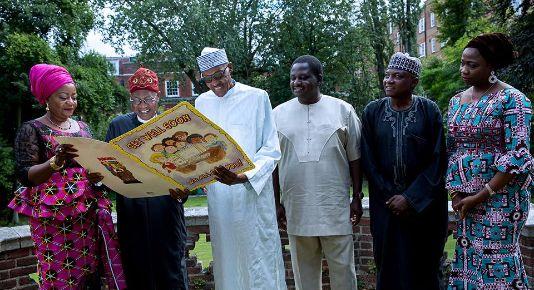 President Muhammadu Buhari with Lauretta Onochie, Lai Mohammed, Femi Adesina, Garba Shehu and Abike Dabiri (Photo Credit: QED)