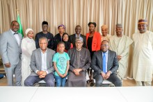 President Muhammadu Buhari with Embassy Staff in Netherlands