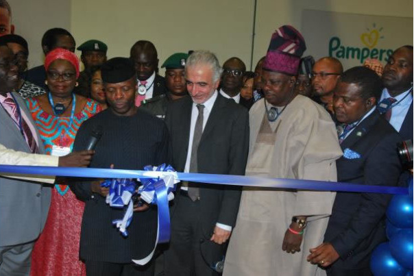 Front from Left: Yetunde Oni, Ag Director-General, National Agency for Food and Drugs Administration and Control; Professor Yemi Osinbajo, Ag President, Federal Republic of Nigeria; George Nassar, Managing Director, P&G Nigeria; Senator Ibikunle Amosun, Governor, Ogun State and Otunba Bimbo Ashiru, Commissioner for Trade and Investment, Ogun State at the site tour and commissioning of P&G's new Always line. [Photo credit: Financial Nigeria]