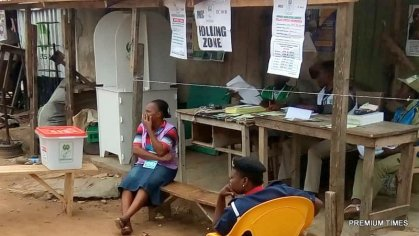 At 7:48. Amaroko Ekiti, Ekiti west local government. Ward 1(AMAROKO1) PU 010 There are four INEC officials present, the PO,APO1,APO2,APO3. They have removed all campaign banners from the sight of voters. They have replaced it with INEC banners which are to orientate the voters on the voting process. A Police officer is equally sitting down with them. All election materials are available and working well said the P.O... Voters are also sighted checking their names on the lists pasted on a wall,to confirm if their registration is valid. In Ekiti West Local government, Ward 1(Amaroko1) Polling Unit 010- Atiba palace, Atiba. From a document pasted on a wall by INEC, their are 348 registered voters. INEC OFFICIALS SET FOR VOTING PROCESS Olanrewaju Olagunju reporting from Ekiti west local government.