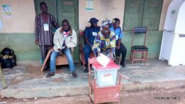 At 8;08. Amaroko Ekiti, Ekiti west local government. Ward 1(AMAROKO1) PU 017 The voting process commence. There are four INEC officials present, the PO,APO1,APO2,APO3. A Police officer is equally sitting down with them. The card reader was given them problem earlier but now working well. Voters are also sighted checking their names on the lists pasted on a wall,to confirm if their registration is valid. In Ekiti West Local government, Ward 1(Amaroko1) Polling Unit 017 ST.JOSEPH'S C.A.C PRY SCH. From a document pasted on a wall by INEC, their are 469 registered voters. Olanrewaju Olagunju reporting from Ekiti west local government.
