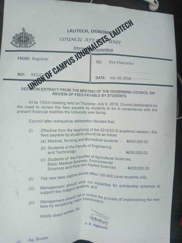 Document showing governing Council approves increment in tuition fees