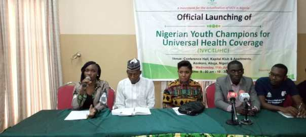Members of the Nigerian Youth Champions For Universal Health Coverage during a press briefing in Abuja.