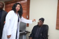 Former President Olusegun Obasanjo undergoing his medicals at the Ophthalmology Unit of the World Class Bayelsa State Diagnostic Centre, Yenagoa. Photo b y Lucky Francis