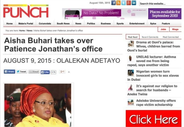 Screen capture of Punch's report on Aisha Buhari before it became unavailable online