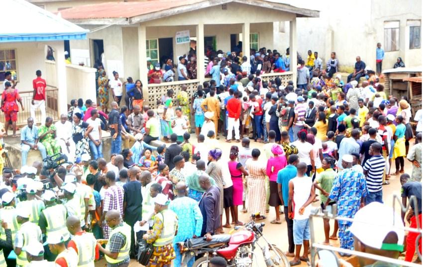Pic 4. Voters waiting to be accredited at Ajilosun, Ado Ekiti during the July 14th Governorship Election in Ado-Ekiti on Saturday (14/7/18). 03770/14/7/2018/Timothy Adeogodiran/ICE/NAN