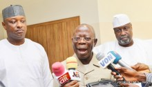 National Chairman of All Progressives Congress, (APC), Adams Oshiomhole (m), addressing State House Correspondents after a meeting with the Chief of Staff to the President, Abba Kyari at the State House Abuja on Monday (23/7/18). With him are Spokesperson for President Muhammadu Buhari's 2019 Campaign, Festus Keyamo (L) and former member of the House of Representatives from Birnin-Kudu in Jigawa State. Hon. Farouk Aliyu Adamu. 03946/23/7/18/Ismaila Ibrahim/NAN