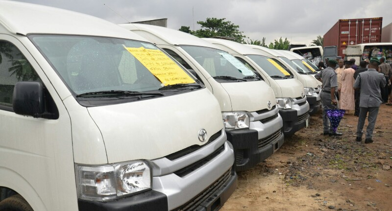 Cross-section of some of smuggled 2018 Model Toyota Haice Bus seized by Nigeria Customs Service in Lagos on Wednesday (25/7/18). 04002/25/7/2018/Wasiu Zubair/TA/HB/NAN