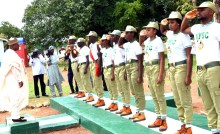 FILE: Gov. Muhammed Abubukar of Bauchi State inspects a Guard of Honour mounted by the National Youth Service Corps (NYSC) 2018 Batch 'B' members during their swearing-in ceremony at Ganjuwa in Bauchi State on Thursday (26/7/18). 04031/26/7/2018/Deji Yake/BJO/NAN
