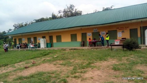 All voters in queue have voted at polling unit 001, St. David Primary School, Afao. Mr Fayose yet to arrive.