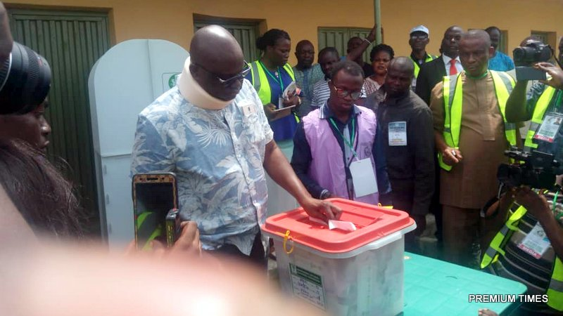 Fayose casting his vote
