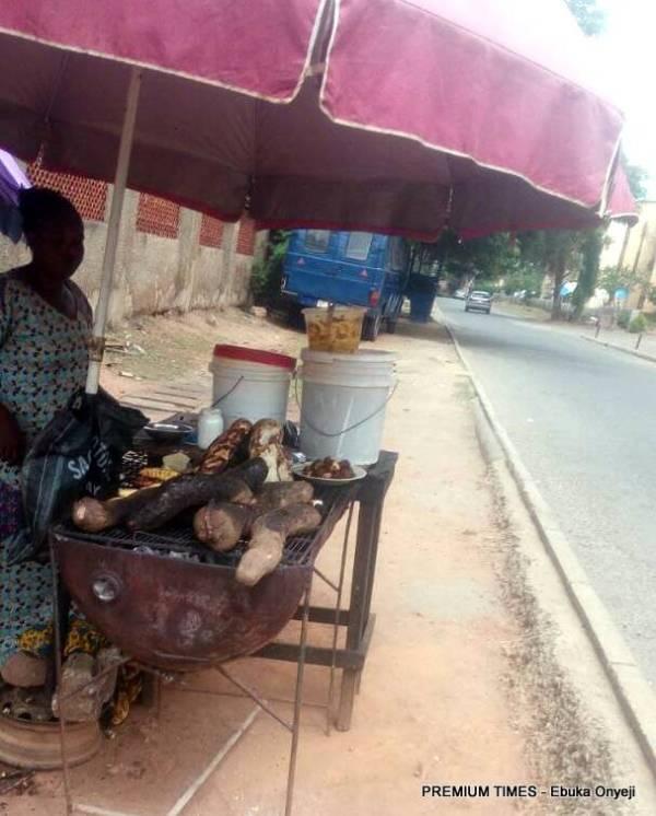 A typical roadside food stand in Abuja.