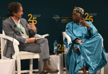 "Former President Olusegun Obasanjo (R) speaking during a forum on ""African Development Finance Institutions …Insights from a Founding Father"", at the on-going Afreximbank Annual Meeting in Abuja on Friday (13/7/18). With him is the moderator, William Wallis, Lead Writer from Financial Times. Caption: Jones Bamidele/NAN"