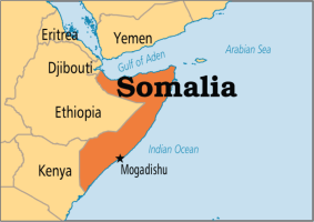 Mogadishu on the map of Somalia