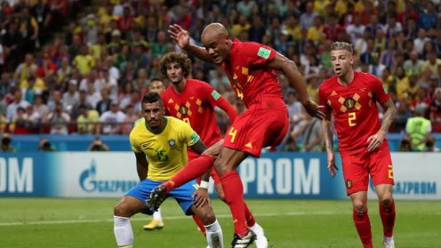 Good flick by Kompany but the Brazil keeper saves the ball (Photo Credit: Reuters)