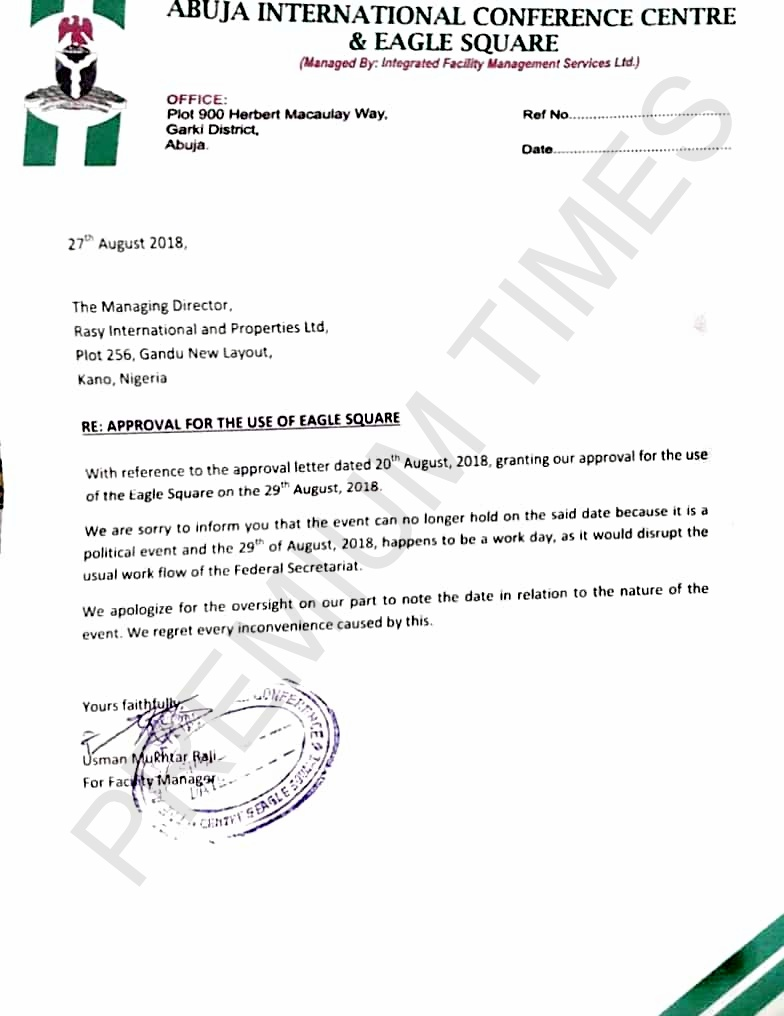 Letter of rejection preventing Kwankwaso from using the Eagle Square for his presidential declaration.