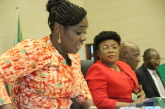 Chairman of the Federation Account Allocation Committee (FAAC) and Minister of Finance, Mrs. Kemi Adeosun; Director of Home Finance in the Federal Ministry of Finance, Mrs. Olubunmi Siyanbola and the Director of Revenue, Budget Office of the Federation, Mr. Sulaiman Nasidi Tahir, during the FAAC meeting held at the Auditorium of the Federal Ministry of Finance on Thursday, 30th August, 2018.