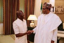 President Buhari and Adams Oshiomole.