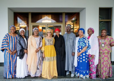 Group Photograph with Mrs. Buhari, Mrs. Barrow with their officials