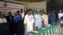From left :Minister of state for education, Anthony Anwukah, Minister of Education Adamu Adamu, Permanent Secretary, Federal Ministry of Education :Adamu Adamu