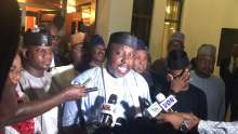 Chairman of Progressives Governors Forum, Governor Rochas Okorocha speaking with reporters after a meeting of APC governors with President Muhammadu Buhari in the State House Presidential Villa