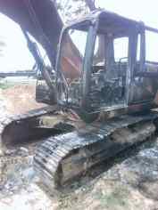 The destroyed escavator