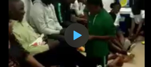 Screenshots from a video showing a Falconet kneeling before Solomon Dalung and counting money