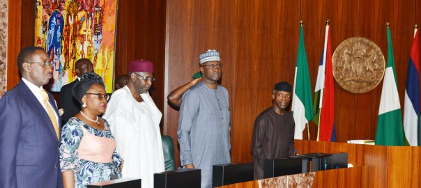 From left: National Security Adviser, retired Maj.-Gen. Babagana Monguno; Head of Civil Service of the Federation, Winifred Oyo-Ita; Chief of Staff to the President, Abba Kyari; Secretary to the Government of the Federation, Boss Mustapha and Acting President Yemi Osinbajo, during the Federal Executive Council Meeting at the Presidential in Villa in Abuja on Wednesday ( 15/8/18). 04386/15/8/2018/Sumaila Ibrahim/JAU/NAN