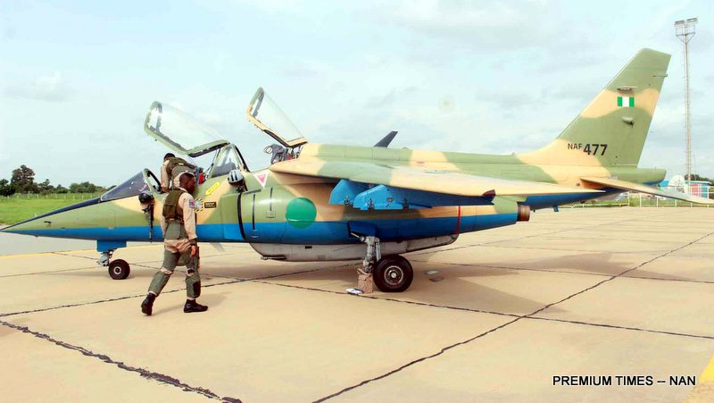 File photo of a Nigerian Air Force's NAF 477 Alpha Fighter Jet and personnel at the Umaru Musa Yar'Adua International Airport, Katsina before flying to Zamfara for Operation 'Diran Mikiya' to flush out armed bandits terrorising the state. 04138/1/8/2018/Zubairu Idris/BJO/NAN
